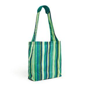 BUILT Reusable Shopper - Torba zakupowa z etui (Emerald Stripe)