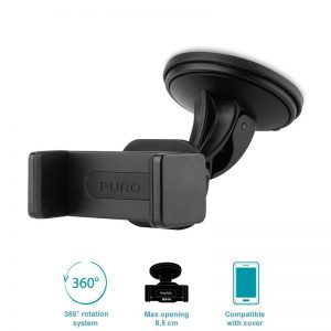 PURO Uniwersalny uchwyt samochodowy do smartfonów + przyssawka (czarny)