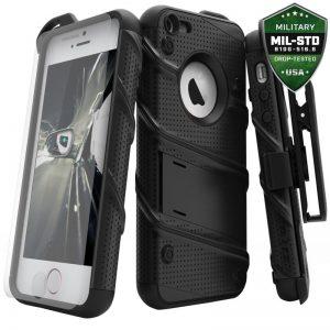 Zizo Bolt Cover - Pancerne etui iPhone SE / 5s / 5 + szkło 9H na ekran (czarny)