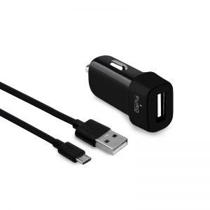 PURO Car Charger - Ładowarka samochodowa USB 1A z odpinanym kablem micro USB (czarny)
