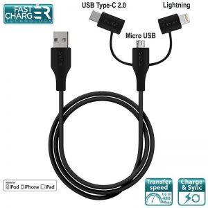 PURO Cable 3 in 1 - Kabel USB do ładowania & synchronizacji danych z trzema wtykami Micro USB & USB-C & Lightning MFi