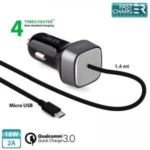 PURO Fast Compact Mini Car Charger - Uniwersalna ładowarka samochodowa z kablem Micro USB