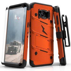 Zizo Bolt Cover - Pancerne etui Samsung Galaxy S8 ze szkłem 9H na ekran + podstawka & uchwyt do paska (Orange/Black)