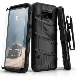 Zizo Bolt Cover - Pancerne etui Samsung Galaxy S8 ze szkłem 9H na ekran + podstawka & uchwyt do paska (Black)