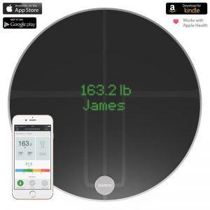 QardioBase 2 Smart Scale - Inteligentna waga z funkcją analizy składu ciała BMI Wi-FI dla iOS / Android / Kindle / Apple Health (Volcanic Black)