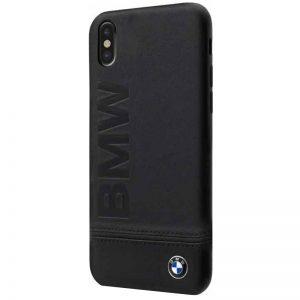 BMW Signature Logo Imprint Case - Skórzane etui iPhone Xs / X z wytłaczanym logo BMW (czarny)