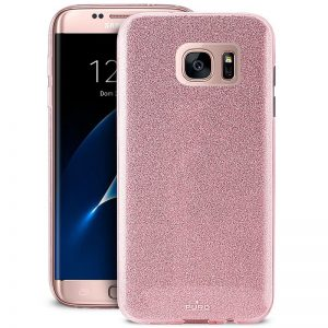 PURO Glitter Shine Cover - Etui Samsung Galaxy S7 edge (Rose Gold)