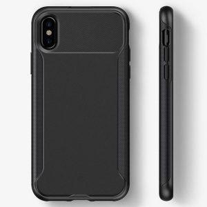 Caseology Nero Slim Case - Etui iPhone Xs / X z hartowanym szkłem ochronnym na ekran (Black)