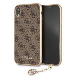 Guess 4G Charms Collection - Etui iPhone XR z zawieszką (brązowy)
