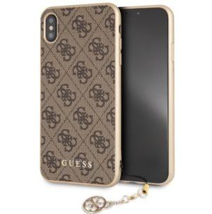 Guess 4G Charms Collection - Etui iPhone Xs Max z zawieszką (brązowy)