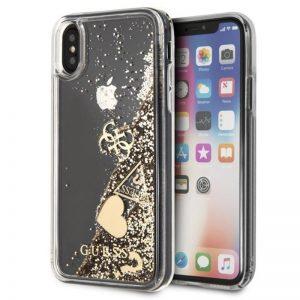 Guess Liquid Glitter Hearts - Etui iPhone Xs / X (złoty)
