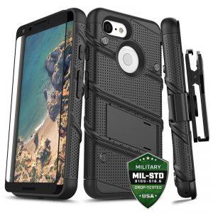 Zizo Bolt Cover - Pancerne etui Google Pixel 3 XL ze szkłem 9H na ekran + podstawka & uchwyt do paska (Black/Black)