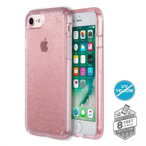 Speck Presidio Clear with Glitter - Etui iPhone SE 2020 / 8 / 7 / 6s (Gold Glitter/Bella Pink)
