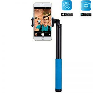 Momax Selfie Hero - Uniwersalny kij do selfie + pilot Bluetooth (150 cm) (Black/Blue)