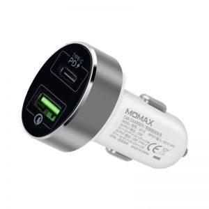 Momax UC - Ładowarka samochodowa USB-C Power Delivery 36 W + USB-A QC 3.0 (White)