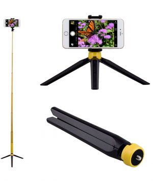 Momax Selfie Tripod - Przenośny statyw fotograficzny (Black/Yellow)