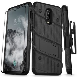 Zizo Bolt Cover - Pancerne etui OnePlus 6T ze szkłem 9H na ekran + podstawka & uchwyt do paska (Black)
