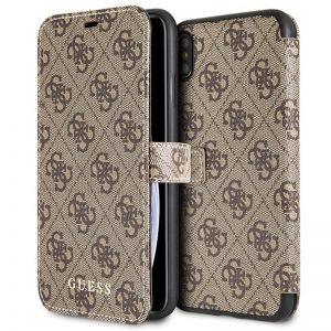 Guess Booktype 4G Charms Collection - Etui iPhone Xs Max z kieszeniami na karty (brązowy)