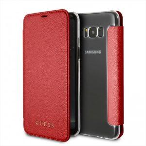Guess Iridescent Book - Etui Samsung Galaxy S8+ z kieszeniami na karty (czerwony)
