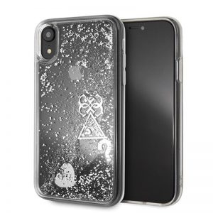 Guess Liquid Glitter Hearts - Etui iPhone XR (srebrny)