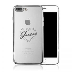 Guess Signature Heart - Etui iPhone 8 Plus / 7 Plus / 6s Plus / 6 Plus (srebrny)