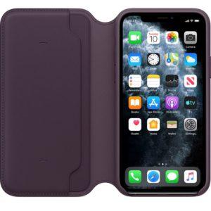 Apple Leather Folio - Skórzane etui iPhone 11 Pro z kieszeniami na karty (śliwkowy)