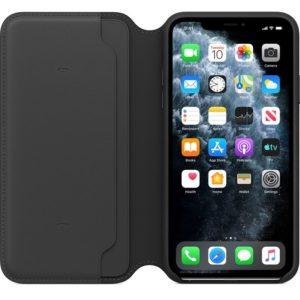 Apple Leather Folio - Skórzane etui iPhone 11 Pro Max z kieszeniami na karty (czarny)