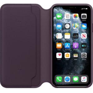 Apple Leather Folio - Skórzane etui iPhone 11 Pro Max z kieszeniami na karty (śliwkowy)