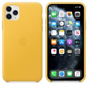 Apple Leather Case - Skórzane etui iPhone 11 Pro Max (soczysta cytryna)