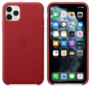 Apple Leather Case - Skórzane etui iPhone 11 Pro Max (czerwony) (PRODUCT)RED