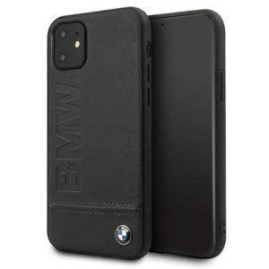 BMW Signature Logo Imprint Book Case - Skórzane etui iPhone 11 z wytłaczanym logo BMW (czarny)