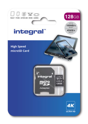 Integral High Speed microSDXC - Karta pamięci 128 GB z adapterem