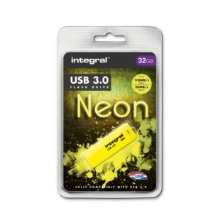 Integral Neon USB 3.0 Flash Drive - Pendrive USB 3.0 32GB (Yellow)