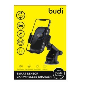 Budi - Uchwyt samochodowy automatyczny z ładowaniem bezprzewodowym Qi (Czarny)