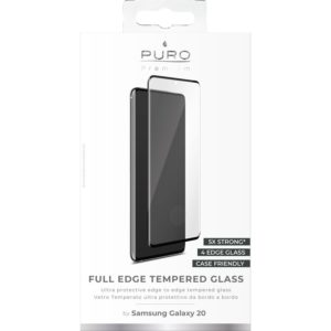 PURO Premium Full Edge Tempered Glass Case Friendly - Szkło ochronne hartowane na ekran Samsung Galaxy S20 (czarna ramka)