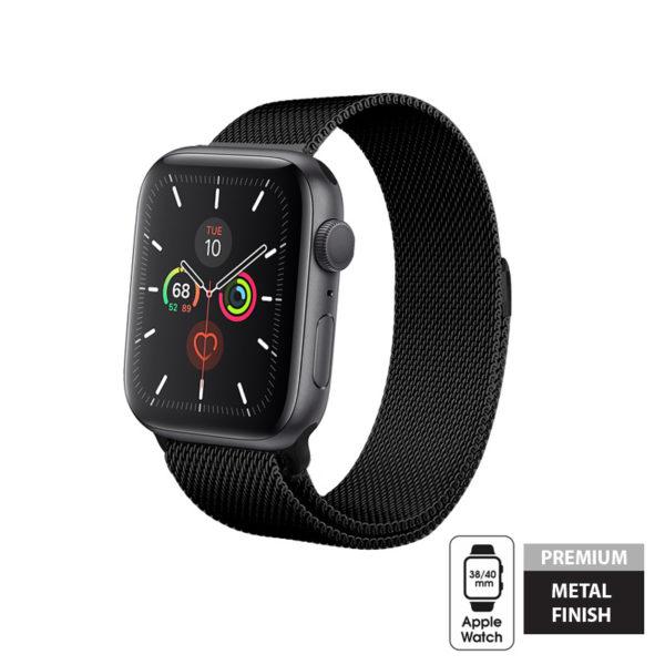 Crong Milano Steel - Pasek ze stali nierdzewnej Apple Watch 38/40 mm (czarny)