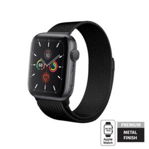 Crong Milano Steel - Pasek ze stali nierdzewnej Apple Watch 42/44 mm (czarny)