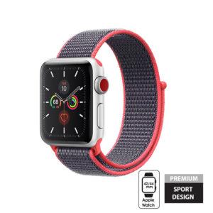 Crong Nylon Band - Pasek sportowy Apple Watch 42/44 mm (Electric Pink)