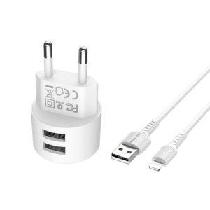 Borofone - ładowarka sieciowa 10W 2x USB z kablem Lightning 1m w zestawie