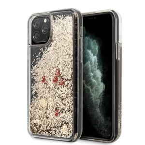 Guess Liquid Glitter Hearts - Etui iPhone 11 Pro Max (złoty/czerwony)