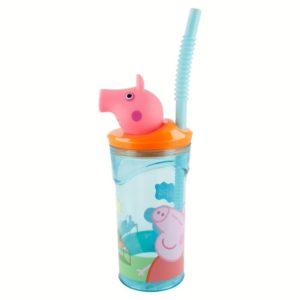 Peppa Pig - Kubek ze słomką i figurką 3D  (360 ml)