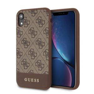 Guess 4G Bottom Stripe Collection - Etui iPhone XR (brązowy)