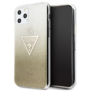 Guess Solid Glitter Triangle - Etui iPhone 11 Pro Max (Gold))