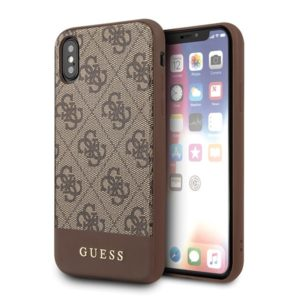 Guess 4G Bottom Stripe Collection - Etui iPhone Xs / X (brązowy)