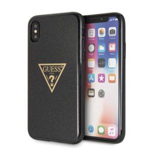 Guess Solid Glitter Triangle - Etui iPhone Xs / X (Black)