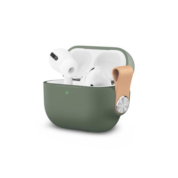 Moshi Pebbo – Etui AirPods Pro z odpinanym paskiem na rękę (Mint Green)