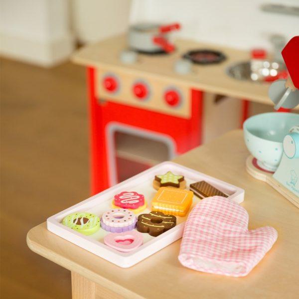 New Classic Toys - Drewniany zestaw ciastek do pieczenia z blaszką drewnianą