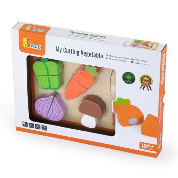 Viga Toys - Drewniana deska z warzywami do cięcia