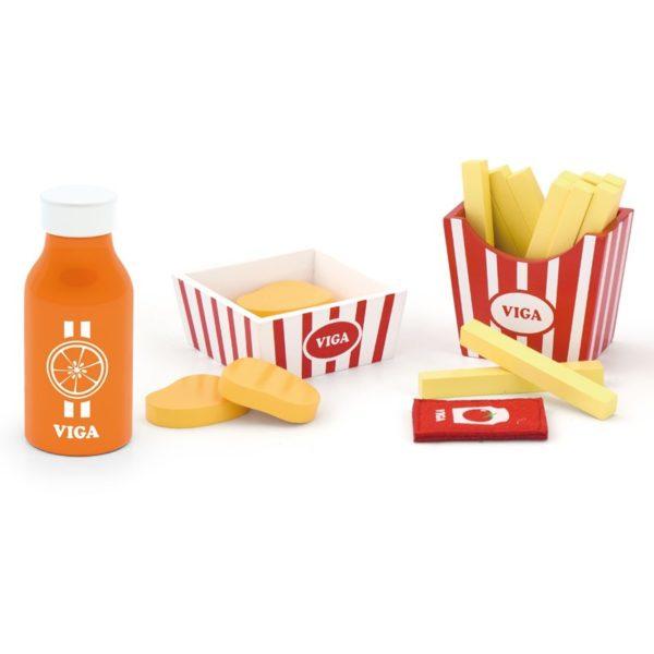Viga Toys - Drewniany zestaw fast food