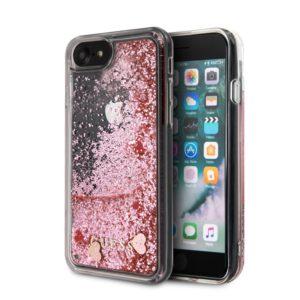 Guess Liquid Glitter Hearts - Etui iPhone SE 2020 / 8 / 7 (różowy/czerwony)